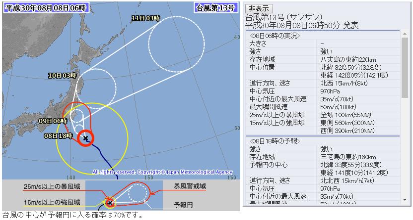 台風13号2018気象庁進路予想図201808朝72時間版