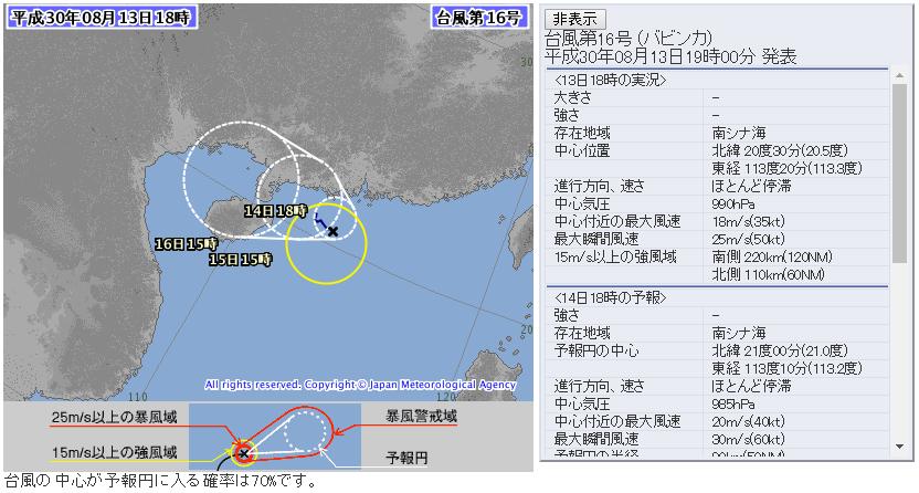 台風16号バビンカ気象庁進路予想図20180813夜版