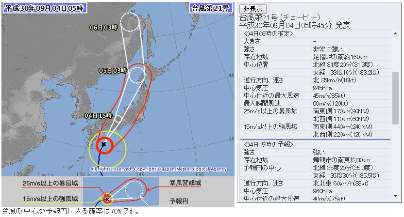 台風21号2018チェービー気象庁進路予想図72時間版20180904_0500