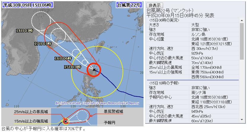 台風気象庁進路予想図5日版20180915_0600