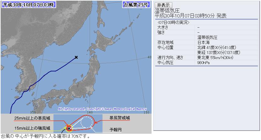 台風25号2018気象庁進路予想図72時間版20181007_0600