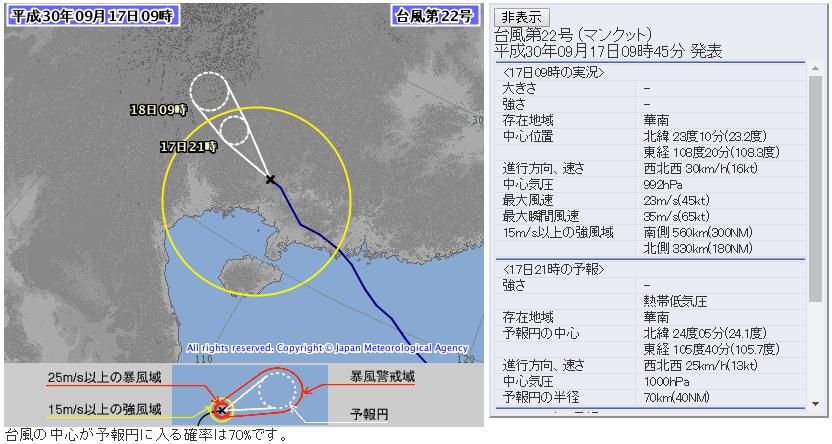 気象庁台風22号進路予想図72時間版20180917_0900